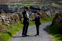Groom and pageboy shake hands